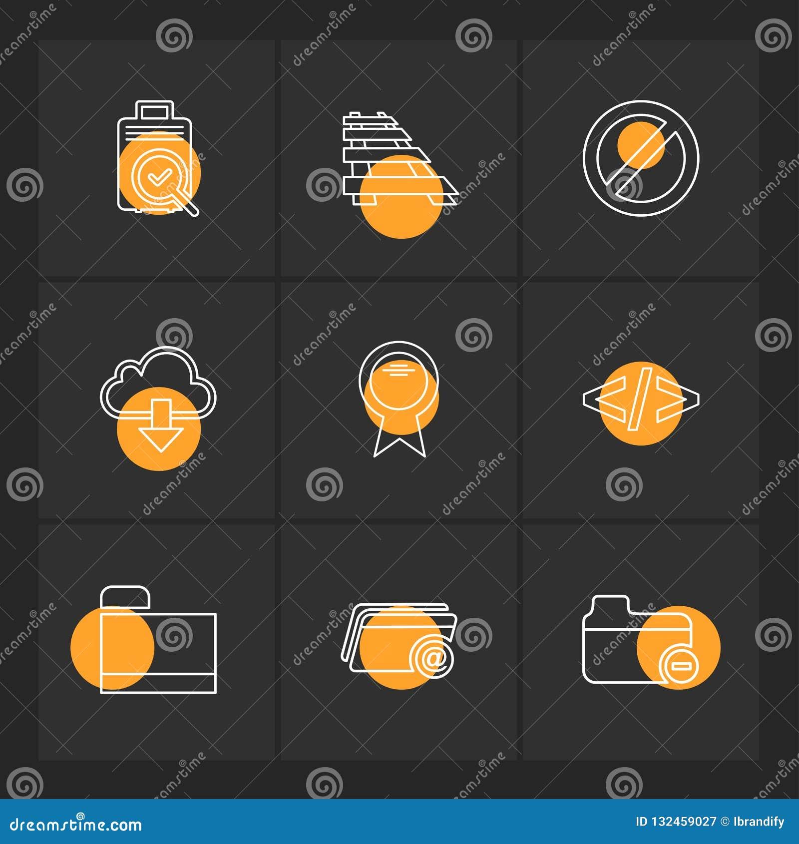 Ordner, Dateien, Verzeichnis, Suche, Code, ENV-Ikonen stellte Vektor ein