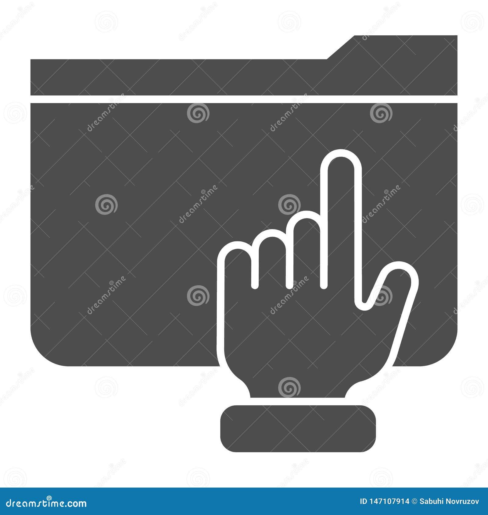 Ordner mit fester Ikone des Armes r Computerordner Glyph-Artentwurf