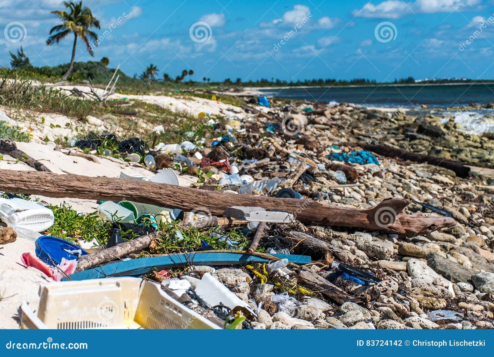 Ordures en plastique de problème de pollution d océan du Mexique