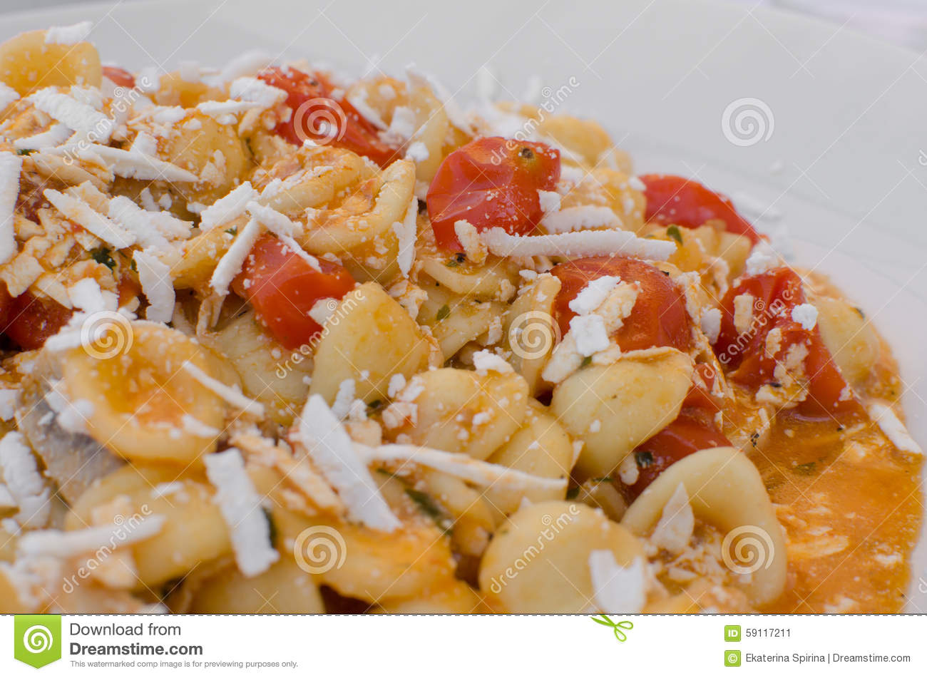 Orecchiette With Tomatoes Cherry And Cheese, Italian Food ...
