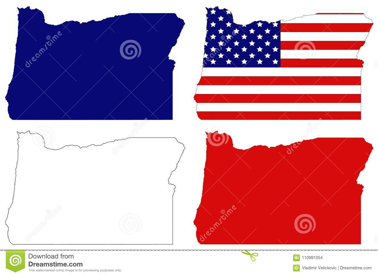 Oregon Map With Usa Flag State In The Pacific Northwest Region On