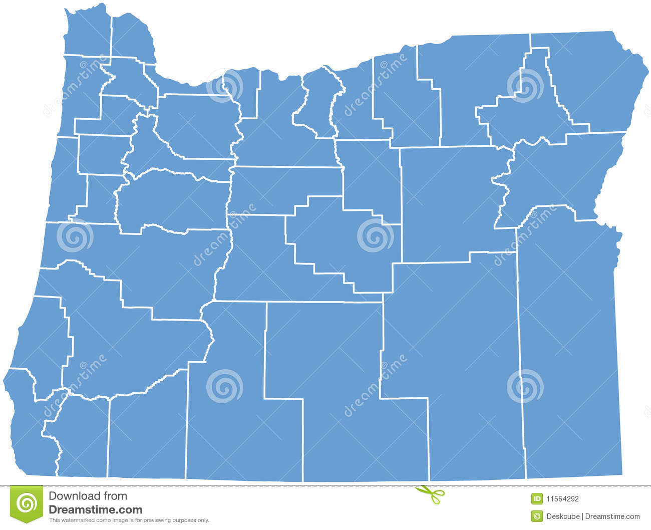 Oregon State Map By Counties Stock Illustration Illustration Of