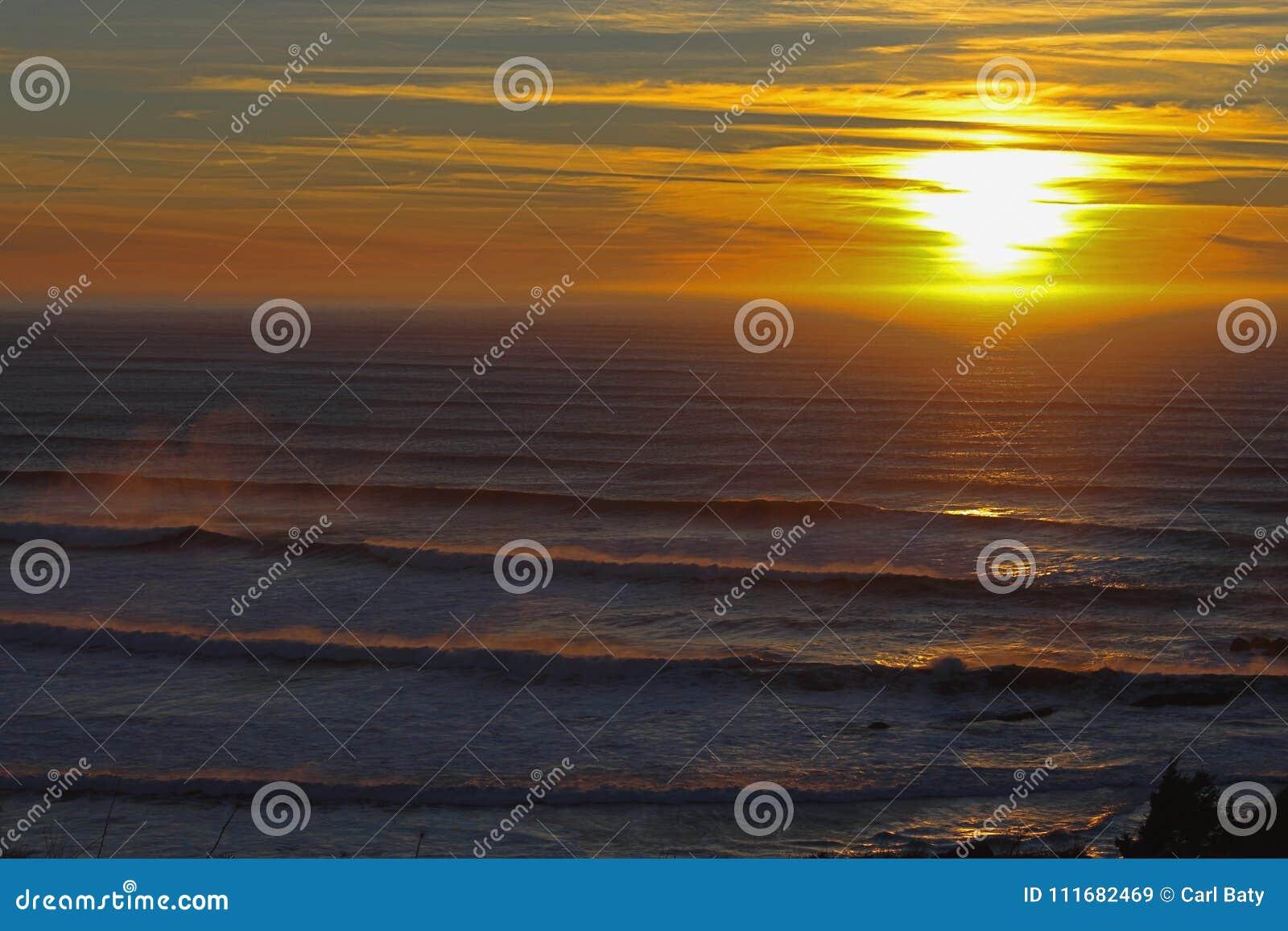 Oregon Sunset and Waves