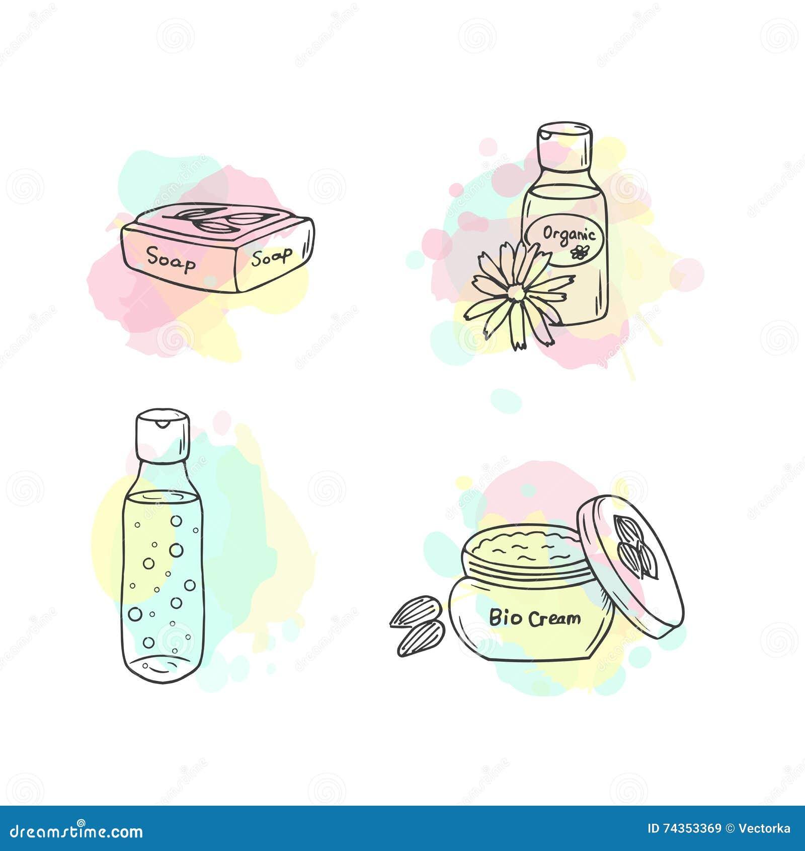 Organic Cosmetics Illustration. Vector Cosmetic Bottles ...