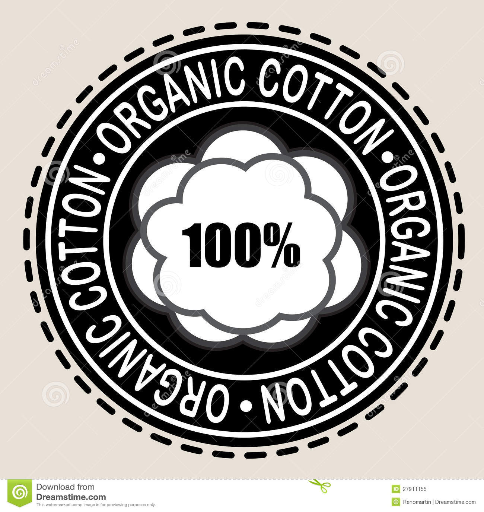 100% Cotton Seal / Mark / Icon Cartoon Vector ...