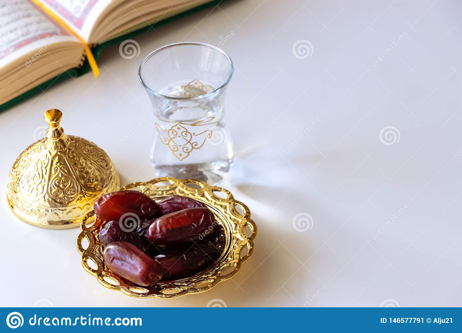 Organic Dates In Traditional Arabic Golden Plate, Cup Of Drinking