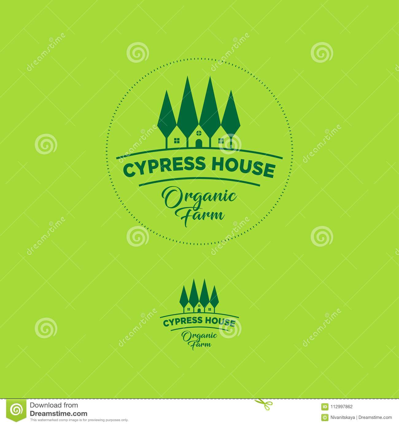 Organic Farm Emblem Cypress Tree House Logo Stock Vector Illustration Of Emblem Product 112997862