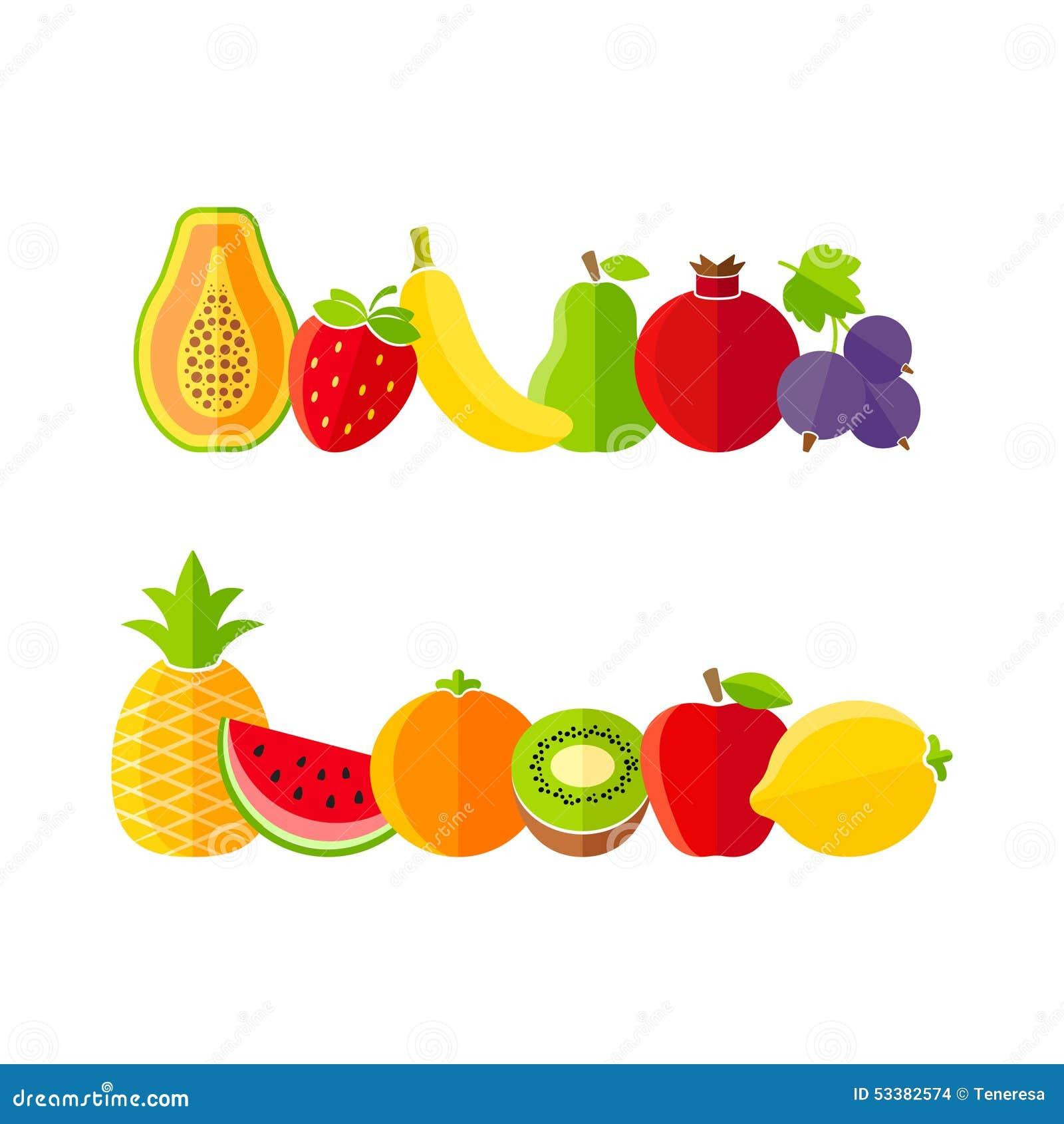 organic farm fruits illustration in flat style stock vector