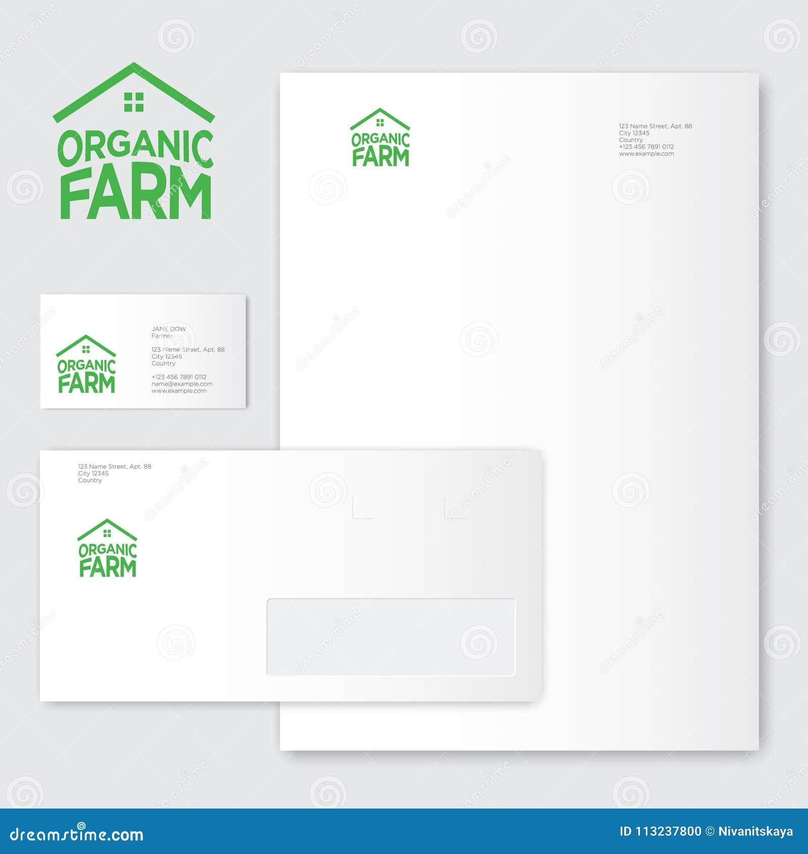 organic farm logo organic food emblems green letters as house