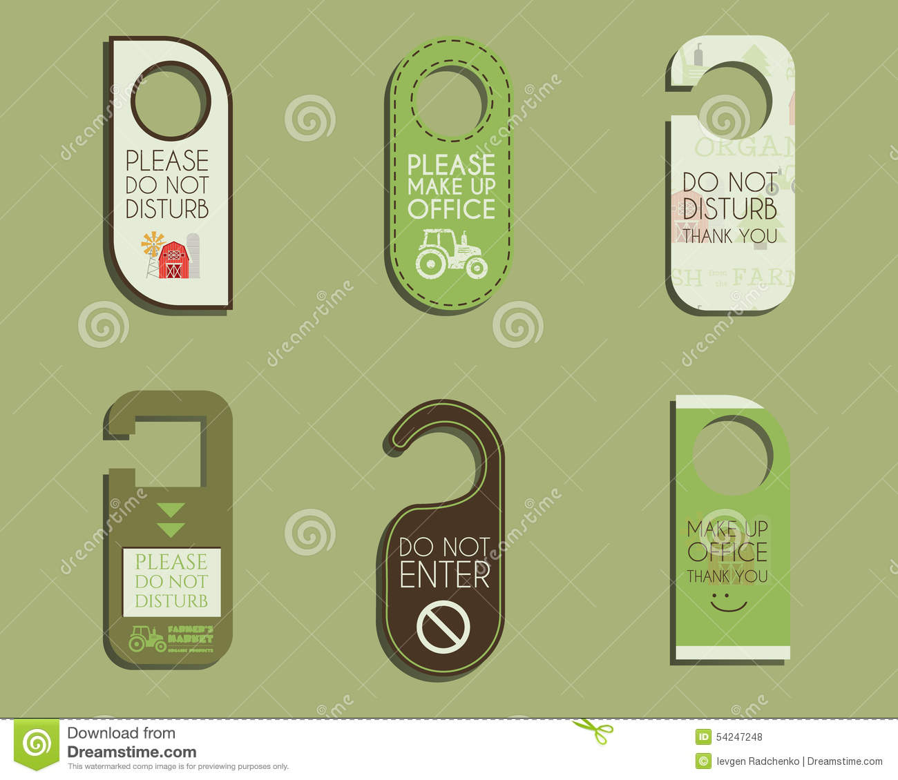organic farm shop and other eco business door stock vector