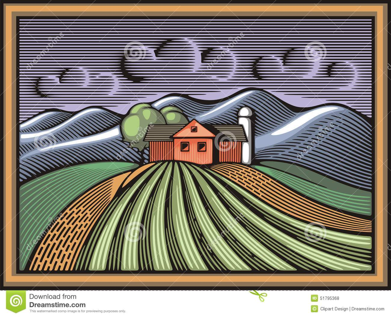 Organic Farming Vector Illustration in Woodcut Style