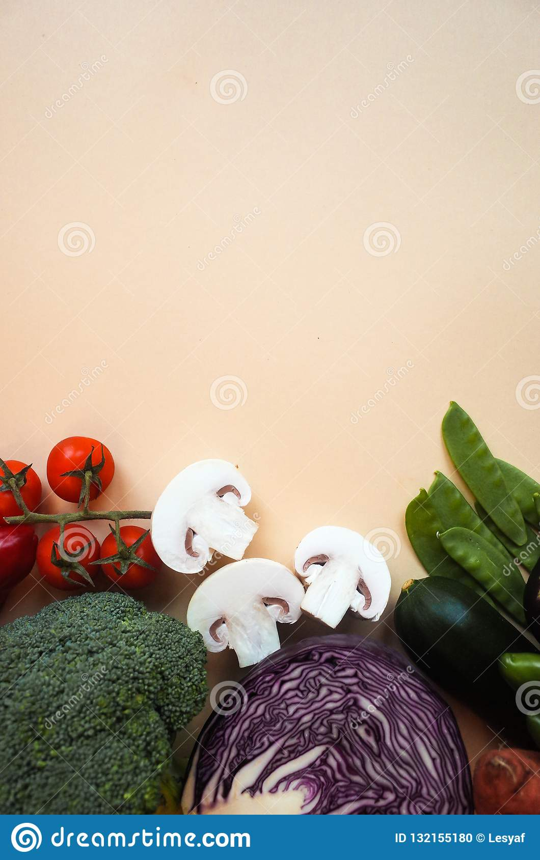 Healthy eating background. Food photography different vegetables color background. Copy space