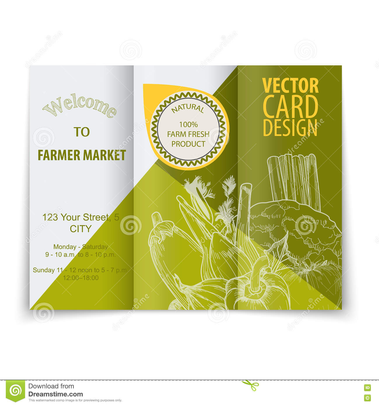 Food Flyer Template | Organic Food Concept Brochure And Flyer Template Stock Vector