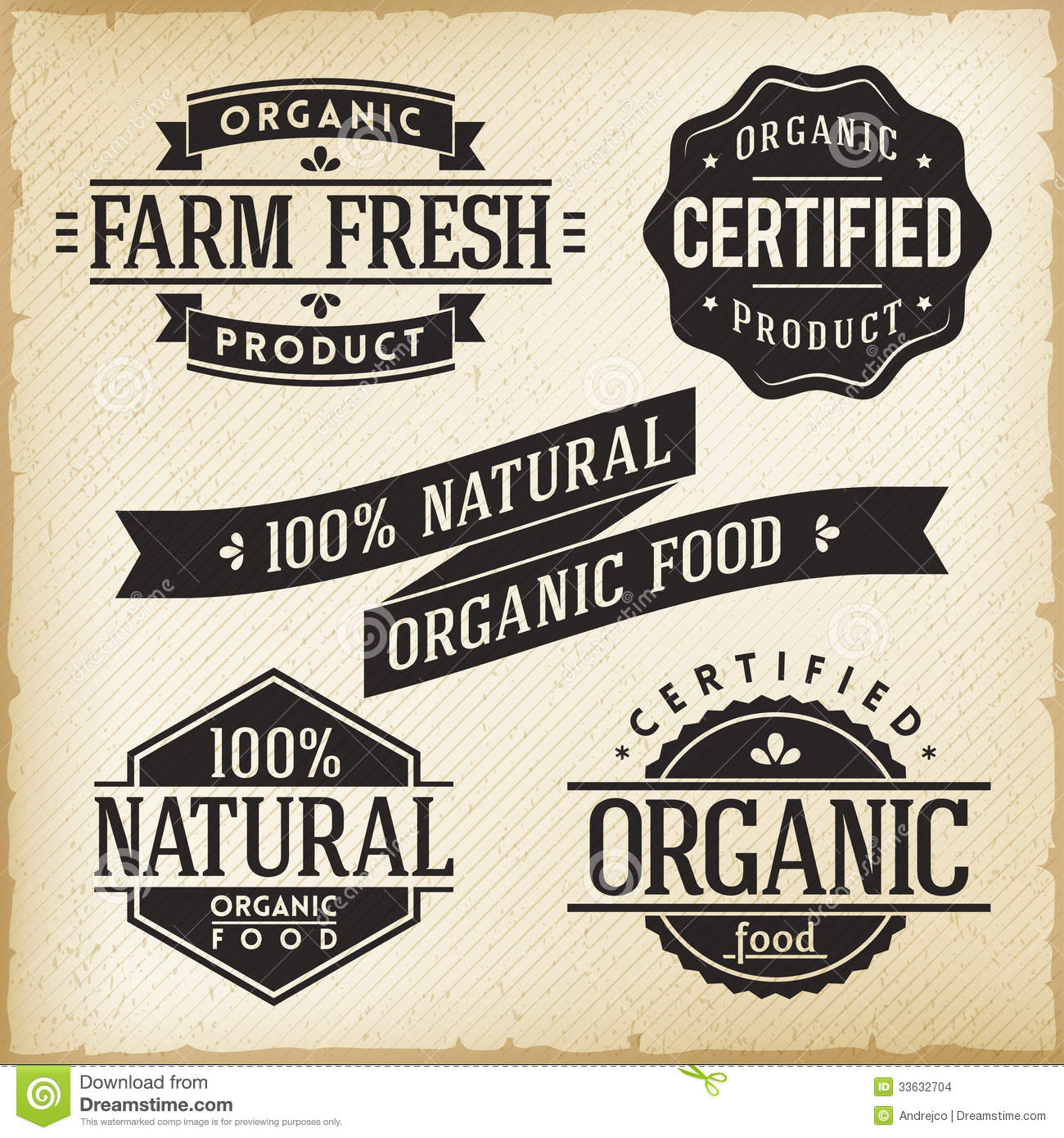 Organic Food Labels Vector Collection Set Stock Vector - Image ...