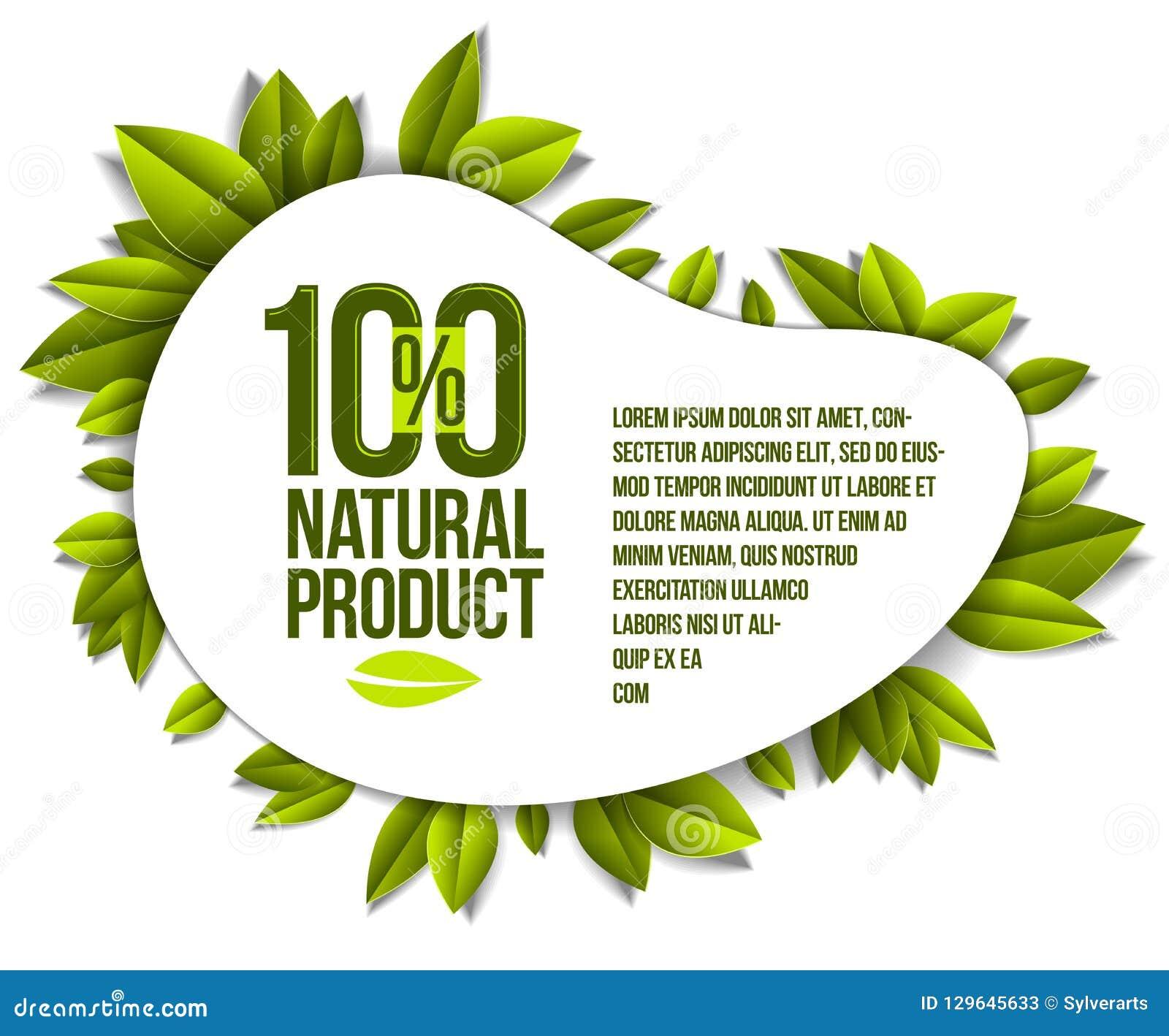 Organic Food, Natural Product Badge, 100 Percent Natural Design