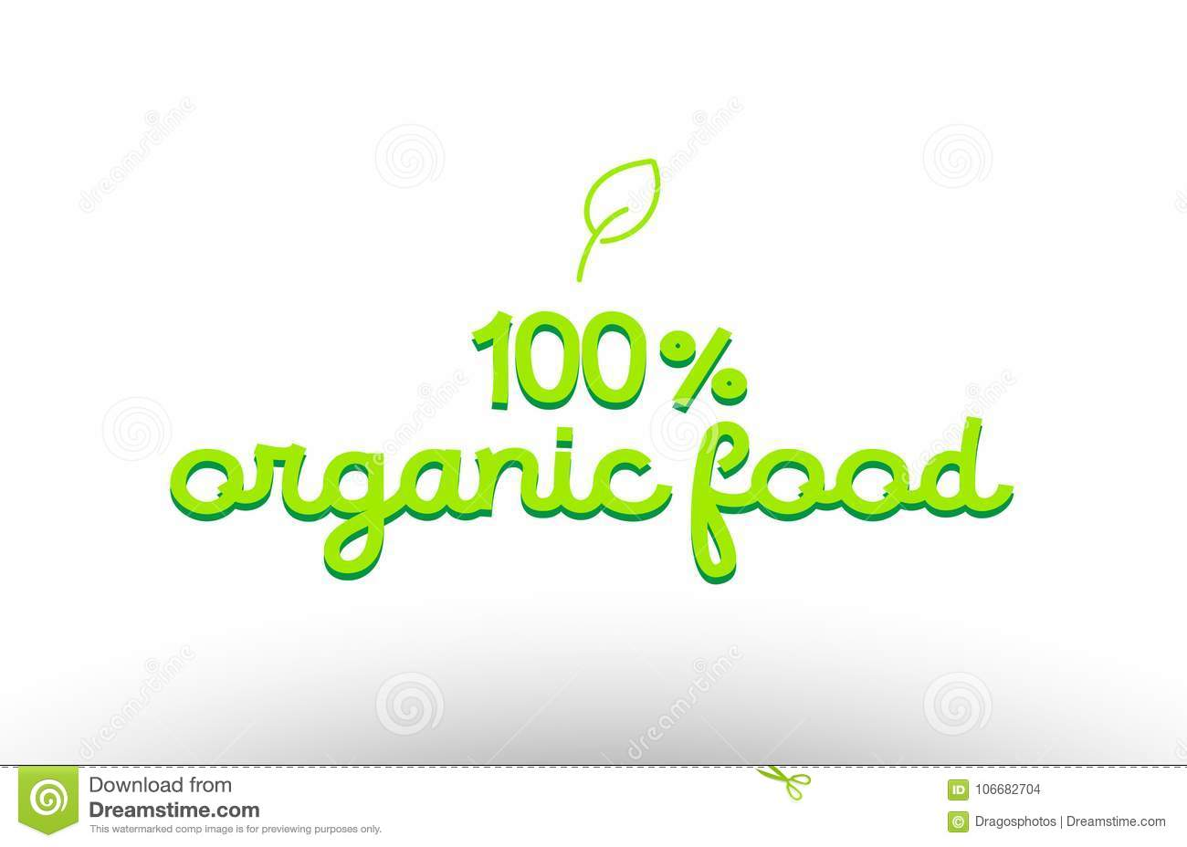 100  organic food word concept with green leaf logo icon company