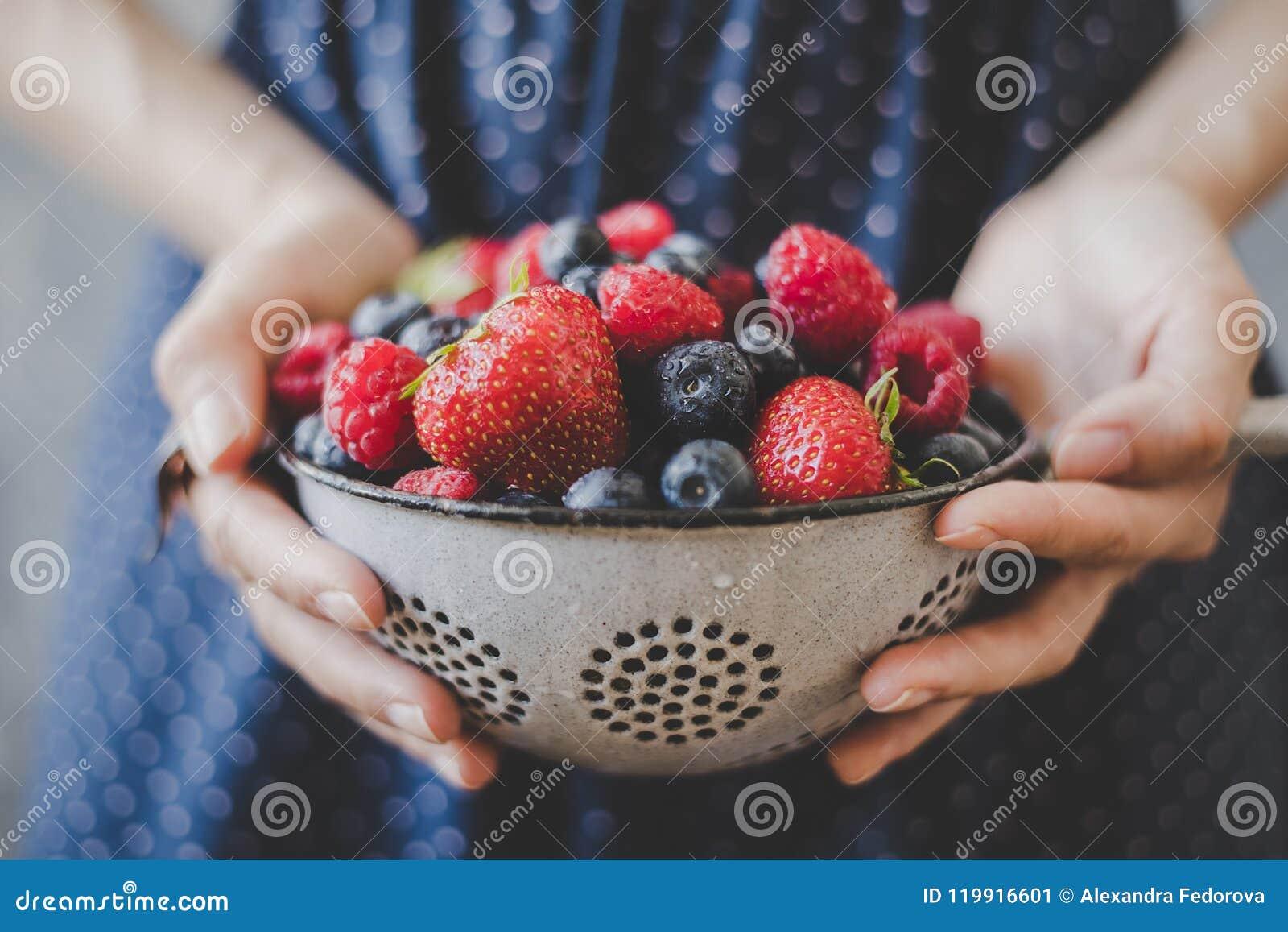 Organic Fresh Berries. Hands Holding Fresh Juicy Berries ...
