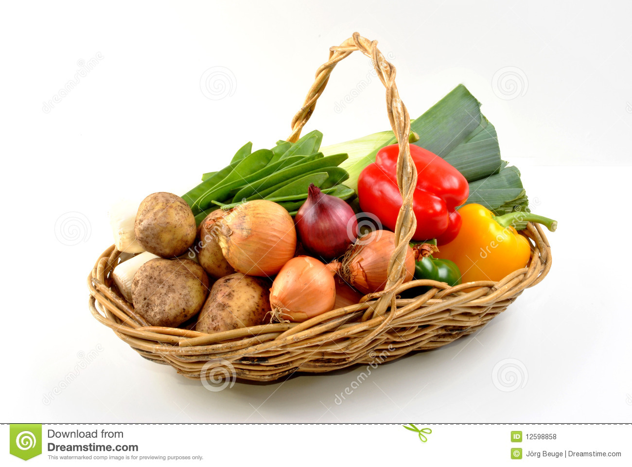Organic Fresh Vegetable In A Basket Royalty Free Stock Photos - Image ...