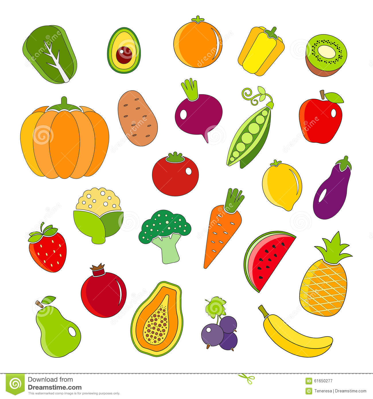 organic fruits and vegetables outline style icons set stock vector