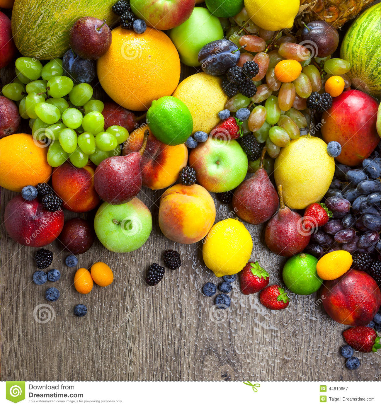 August 2014 Cpo Offers Table Jpg: Organic Fruits With Water Drops On Dark Wooden Table Stock