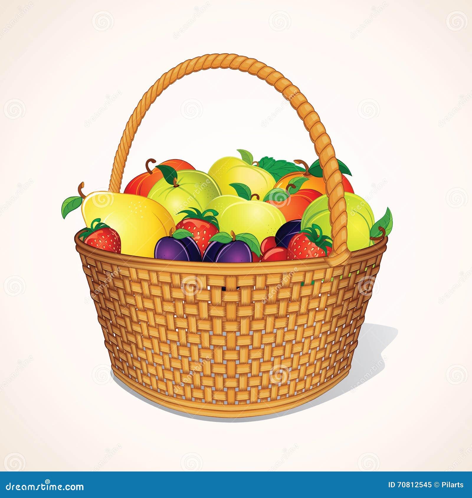 Organic Garden Fruits In Basket. Vector Stock Vector