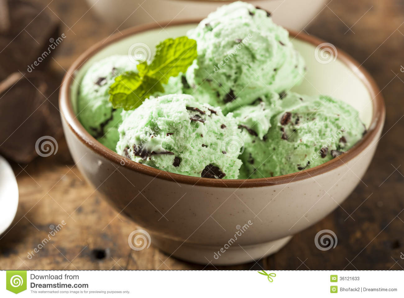 Mint Chocolate Chip Ice Cream Stock Photos, Images, & Pictures ...