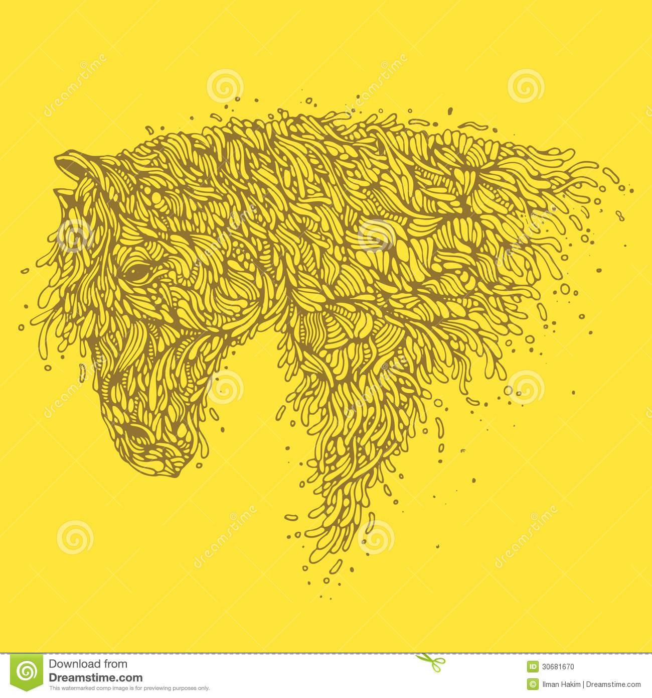 Line Art Illustration Style : Organic horse stock vector image of line white
