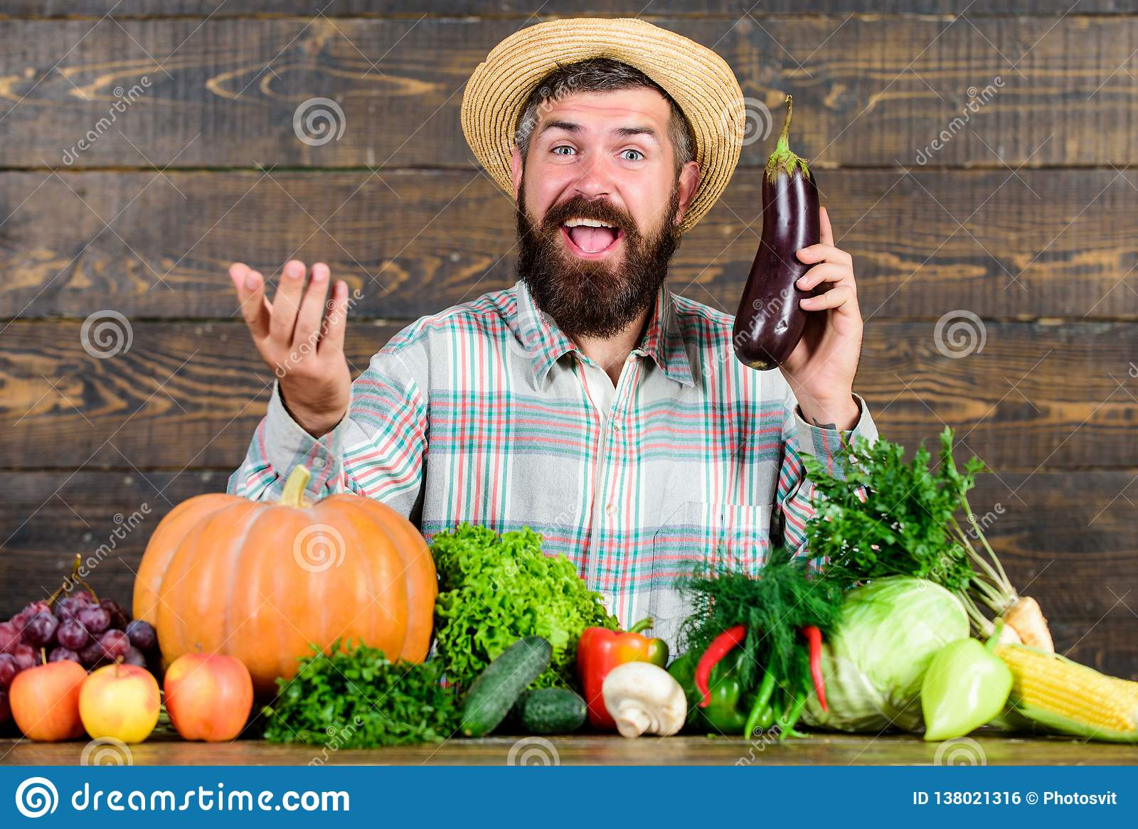 Organic Horticulture Concept  Farmer With Organic Vegetables