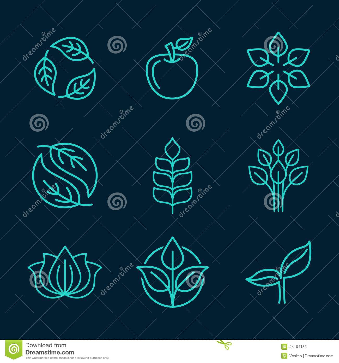 organic icons in outline style stock vector