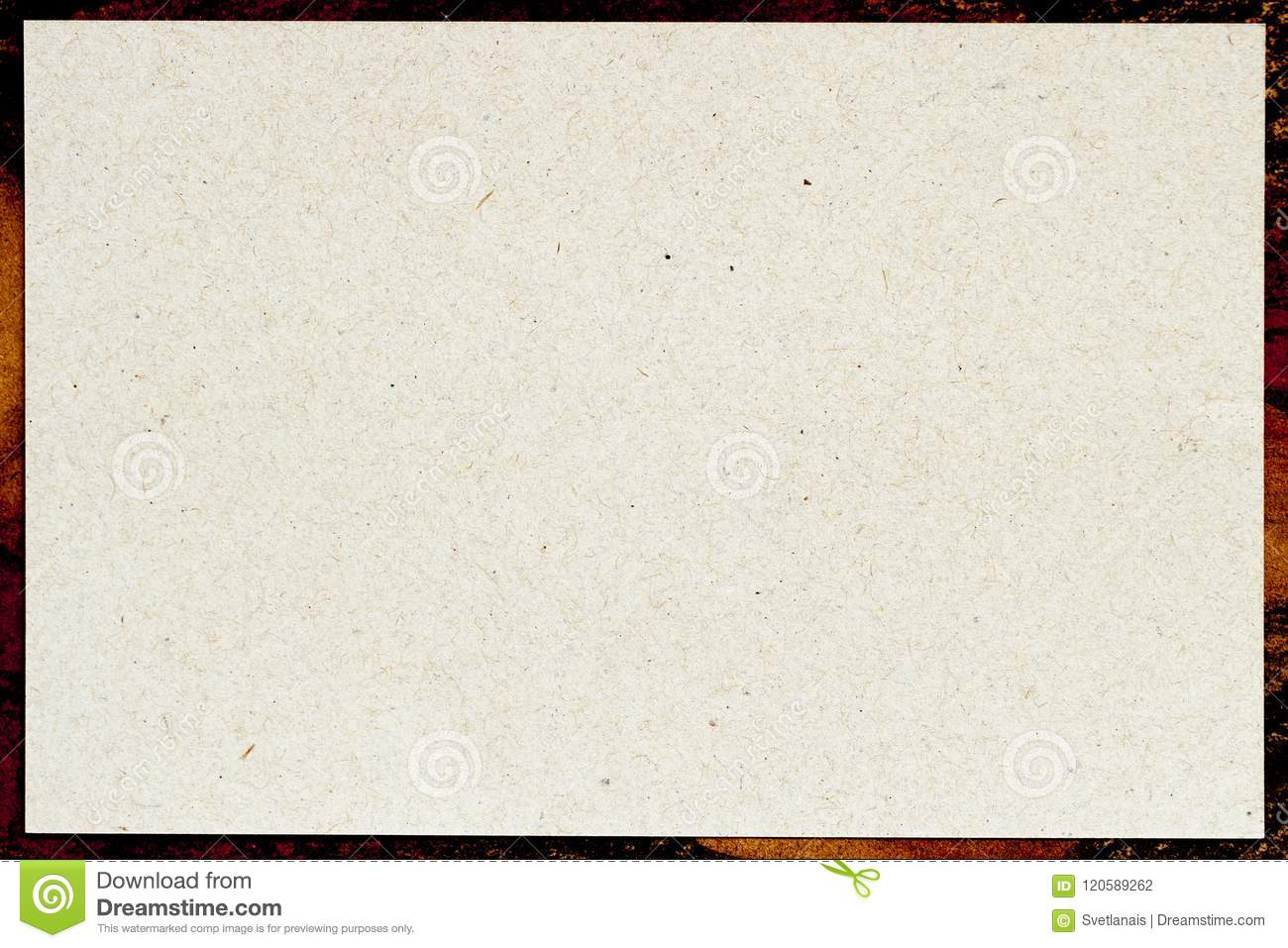 Organic light cream paper in patterned frame, recyclable material, has small inclusions of cellulose. Blank for your