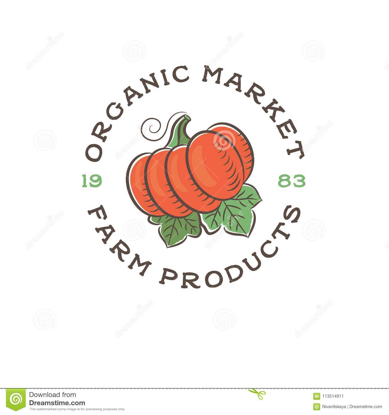 Organic Market Logo  Vegetables And Fruit Store  Vegetarian Food