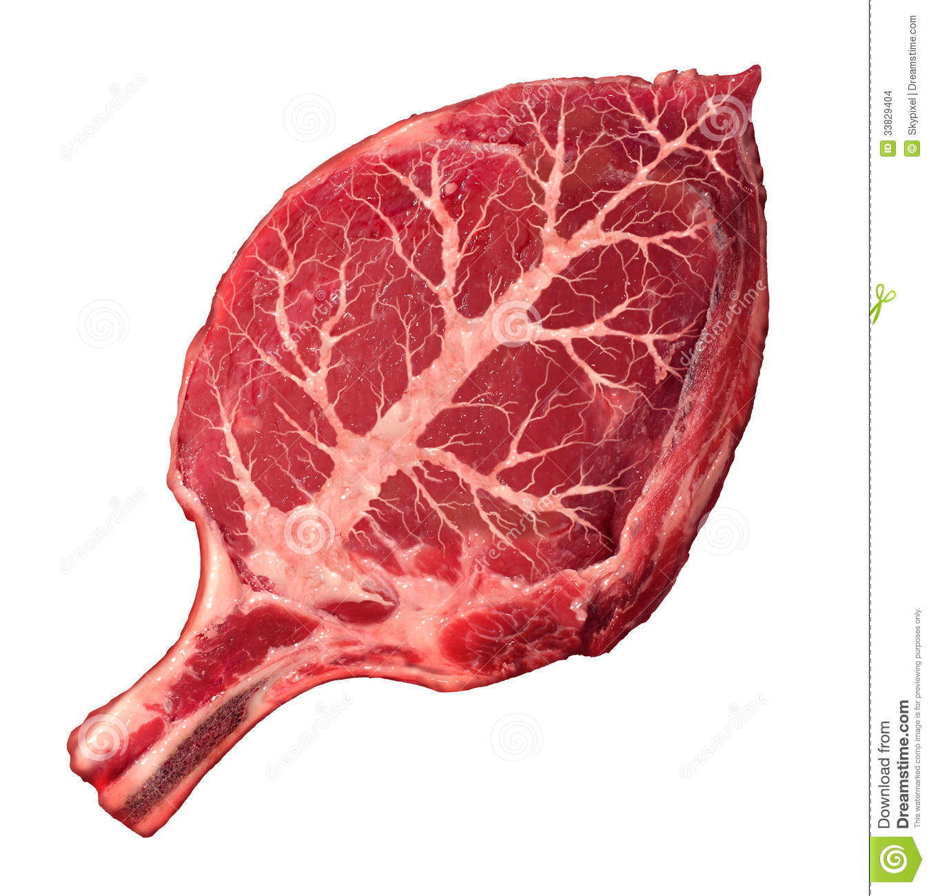Organic meat and natural food as a raw steak in the shape of a green