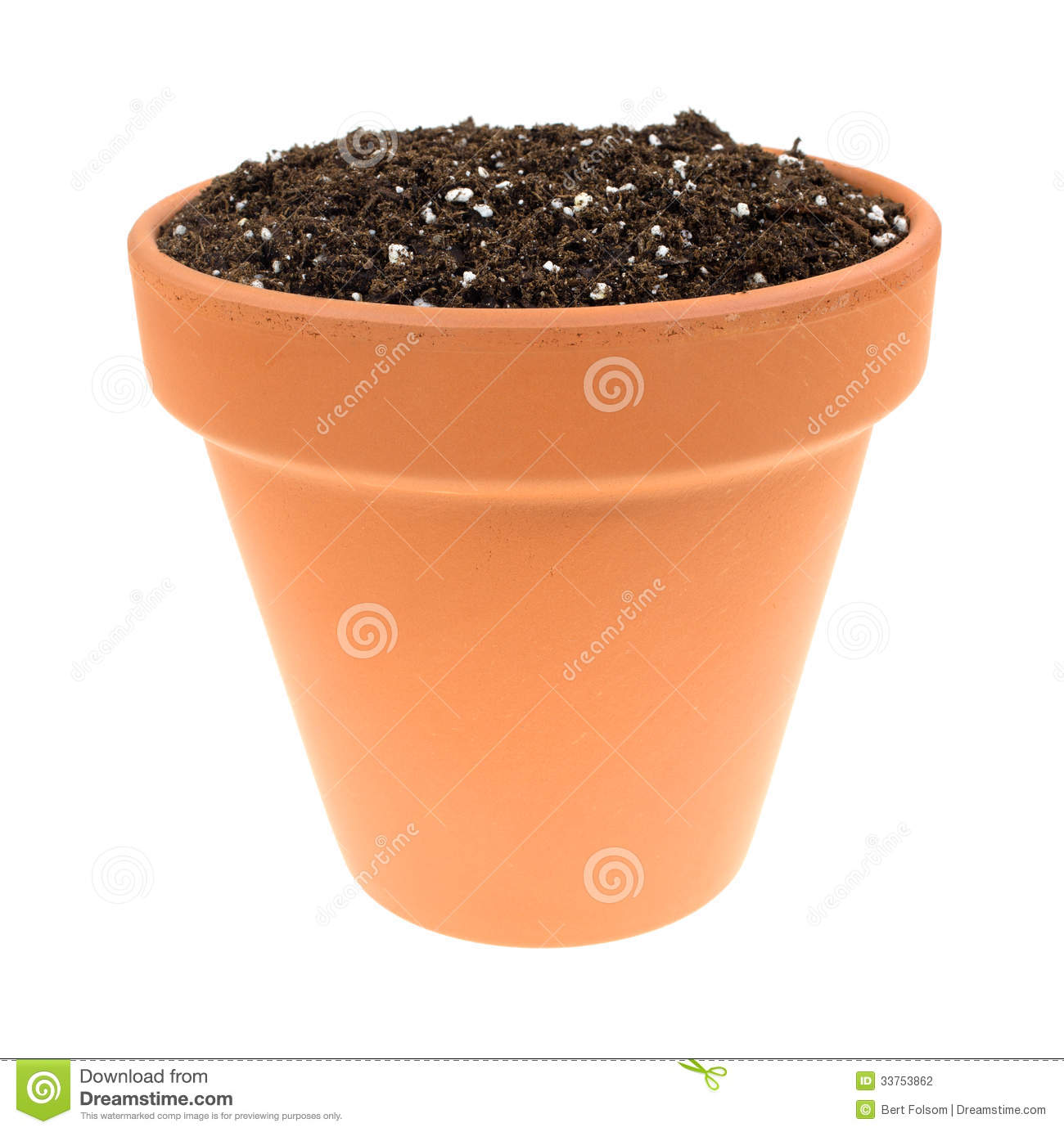 organic potting soil in clay pot stock photography image