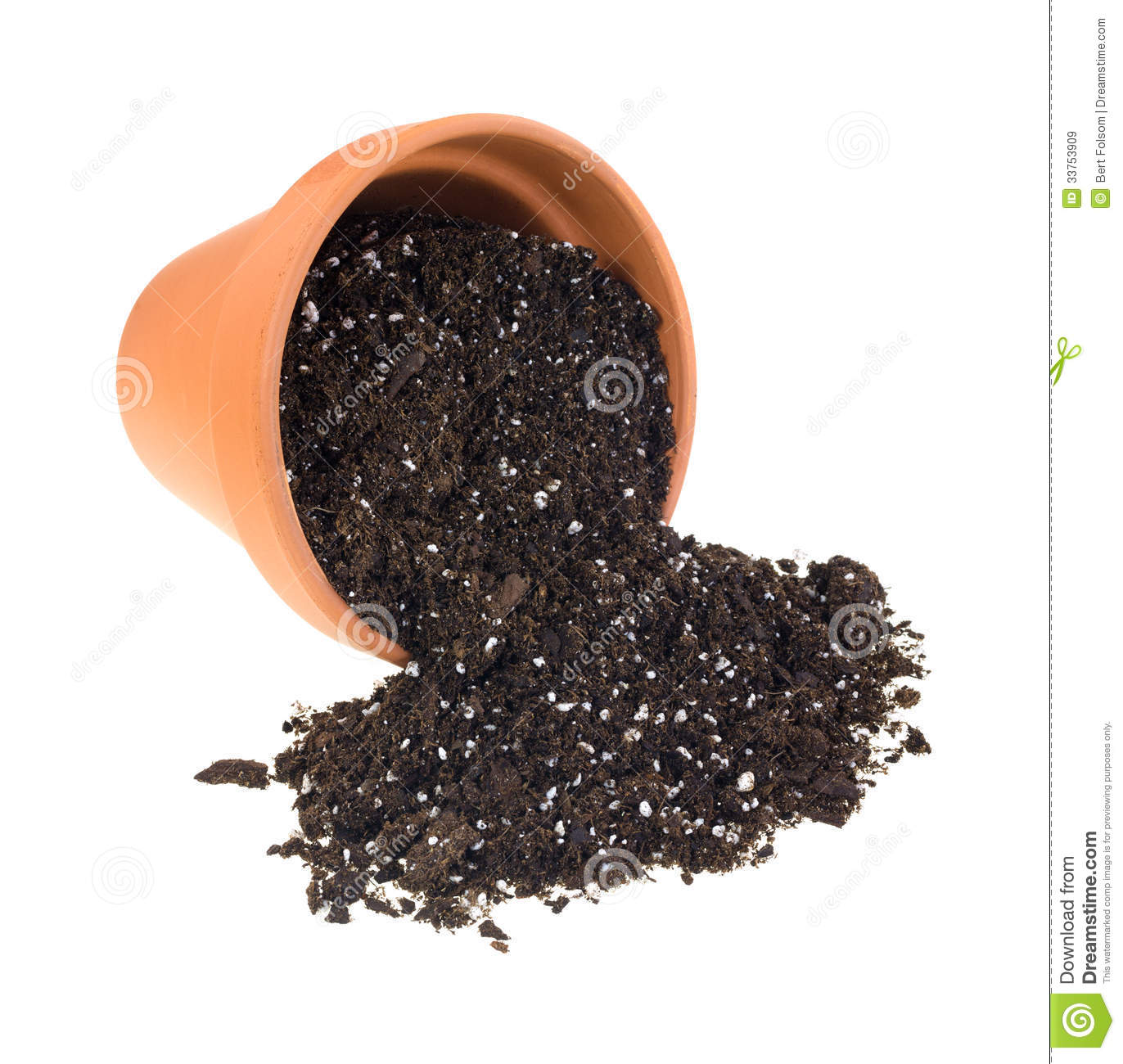 Organic potting soil spilling from cay pot royalty free for Clay potting soil