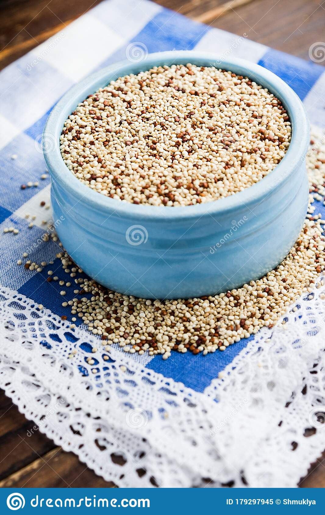 Organic Quinoa Grains In Blue Ceramic Bowl. Concept ...