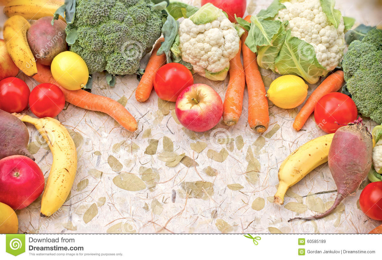 Organic Seasonal Fruits And Vegetables Stock Image Image Of Banana Organic 60585189