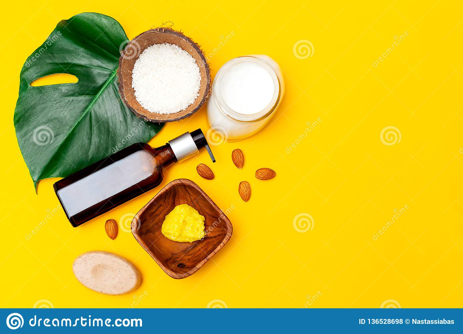 Organic Skin Care Set On Yellow Background Copy Space Stock Photo Image Of Leaf Chips 136528698