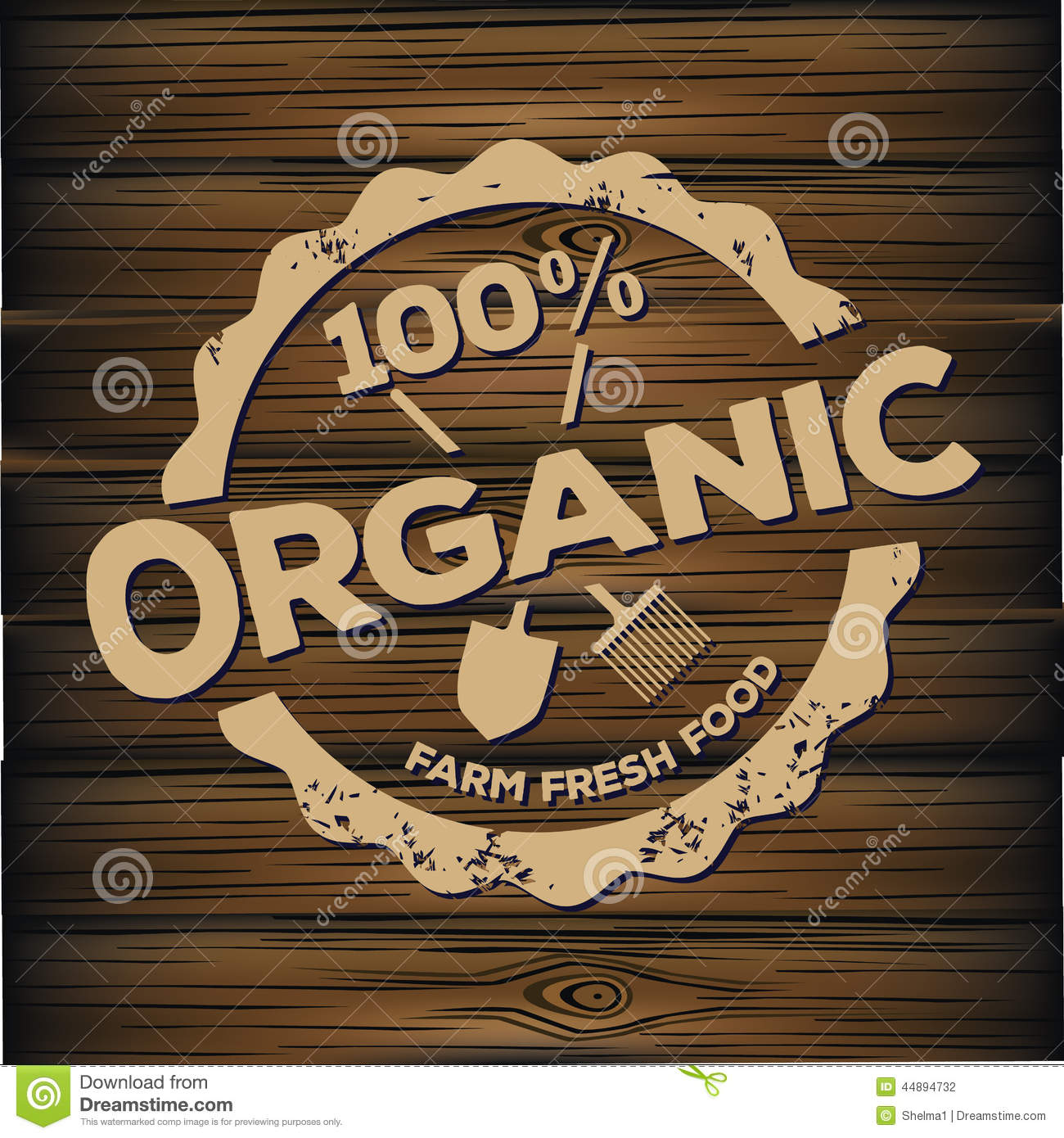 Organic stamp carved on wood stock vector image