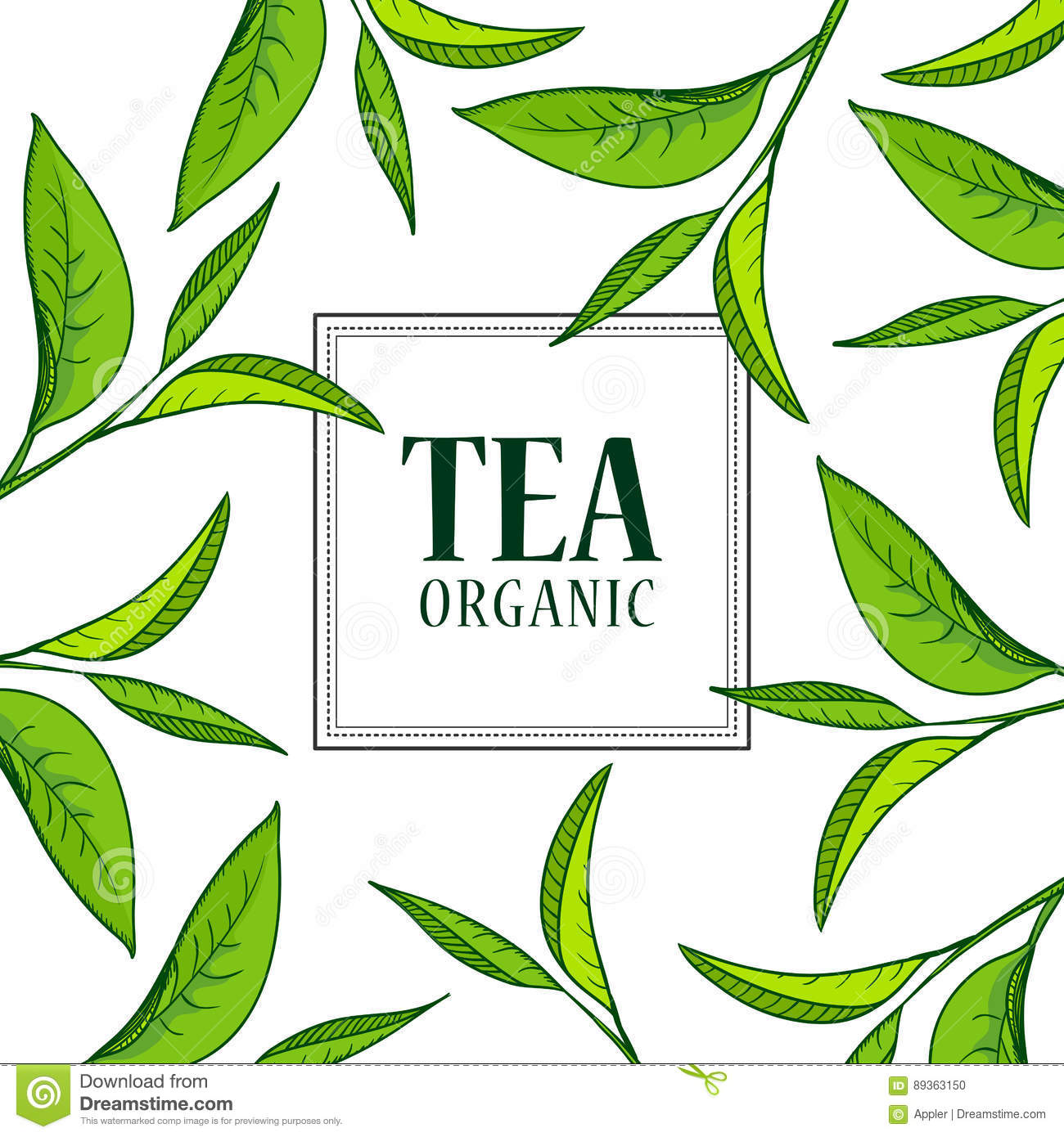Organic tea frame stock vector. Illustration of leaf - 89363150