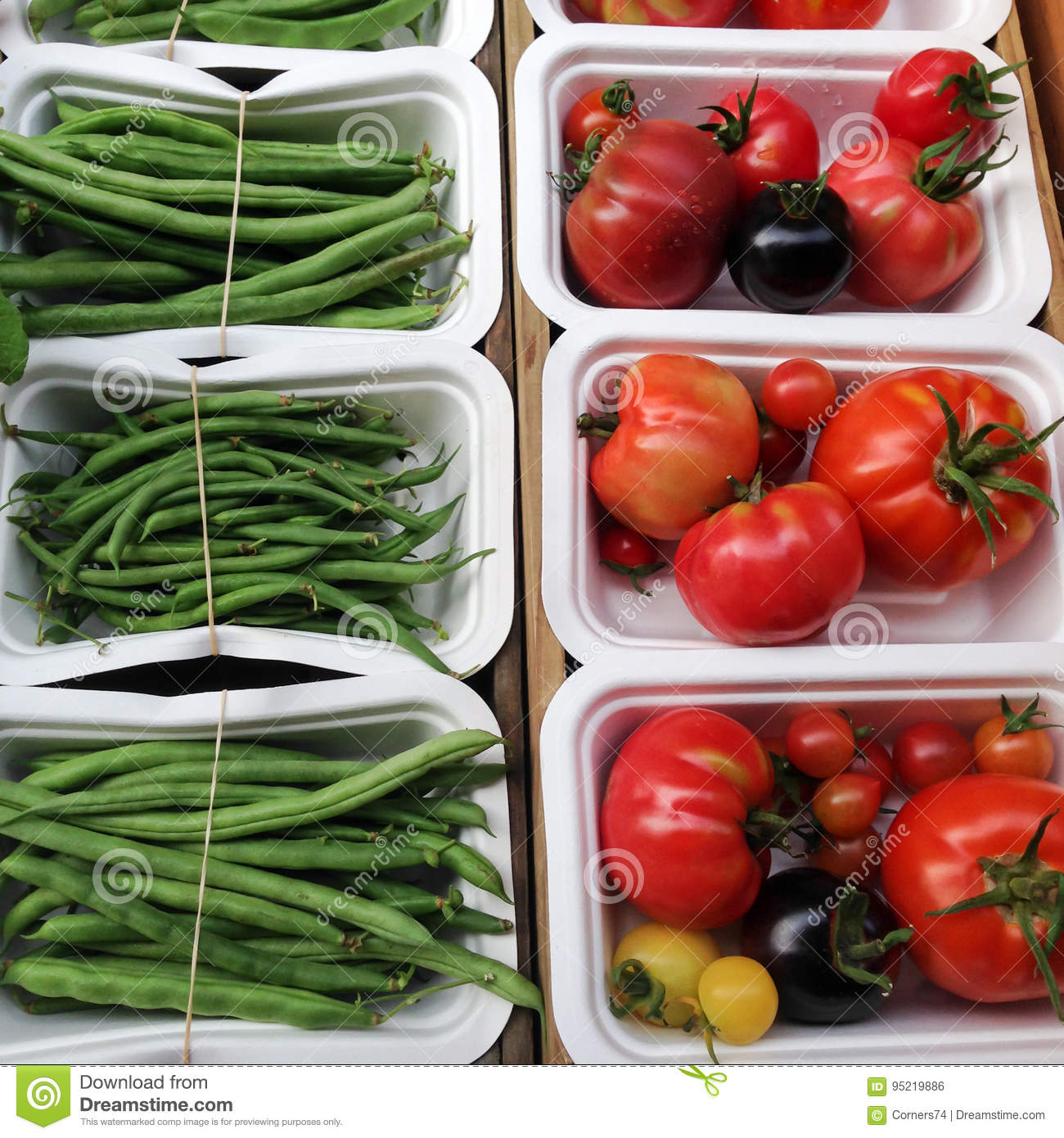 Organic Tomatoes And Green French Beans In Compostable Packaging