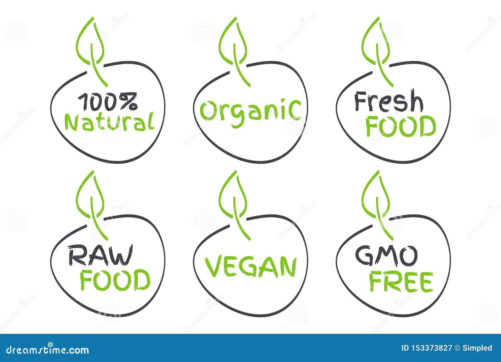 Organic, Vegan, Raw, Fresh Food, GMO Free, 100  Natural labels. Green and grey vector logos, signs. Symbols for healthy eating