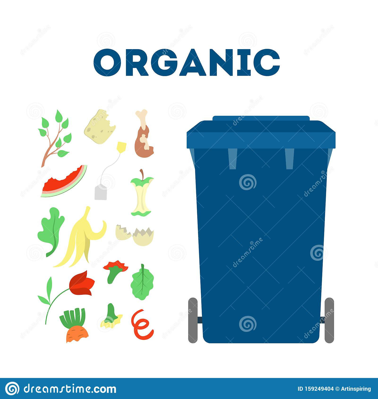 Organic Waste And Garbage Ecology Friendly Trash Stock Vector