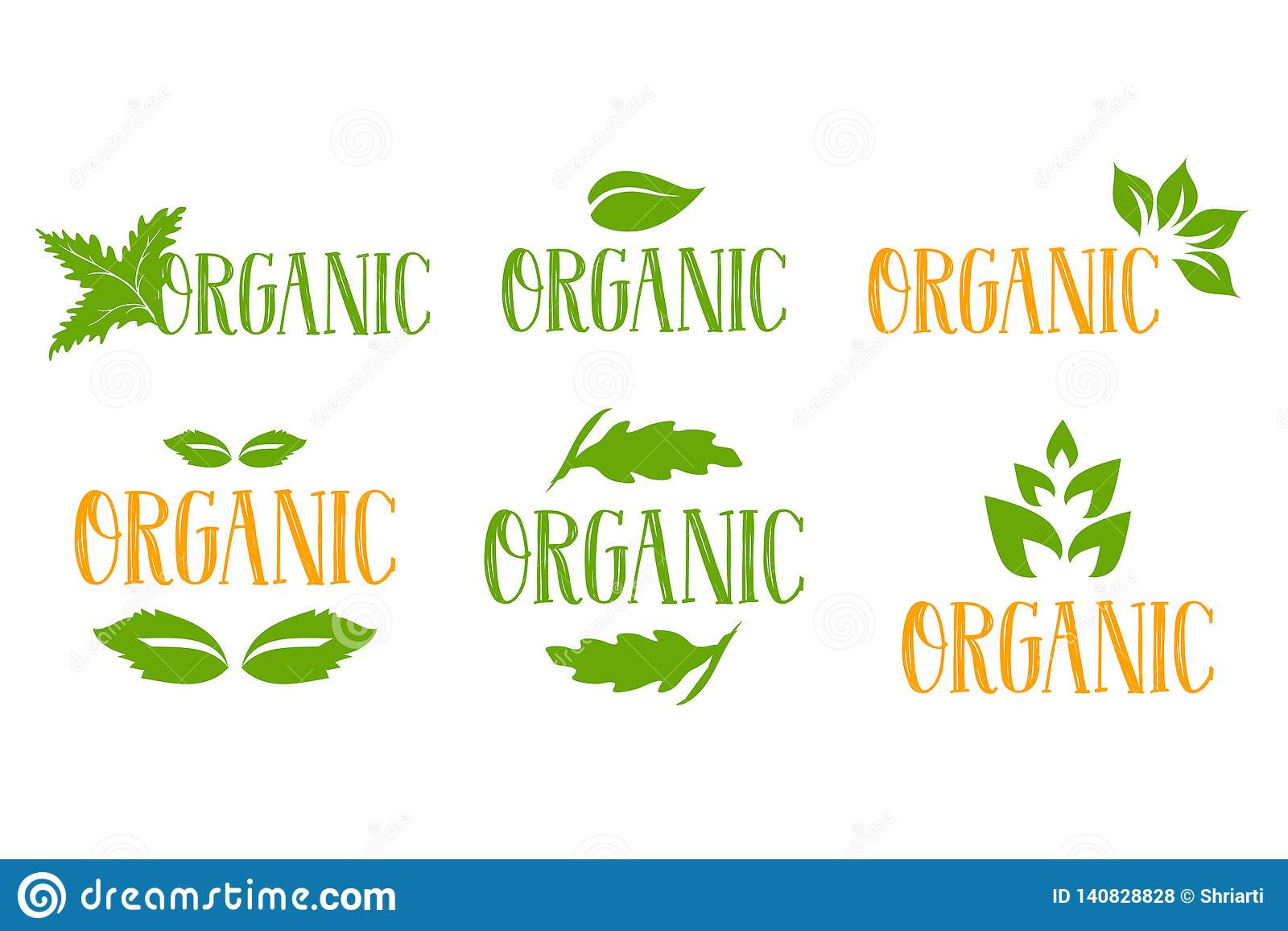 Organicznie wektorowy logo ustawiający w zieleni i pomarańcze kolorach z kilka typami zieleni ziołowi liście