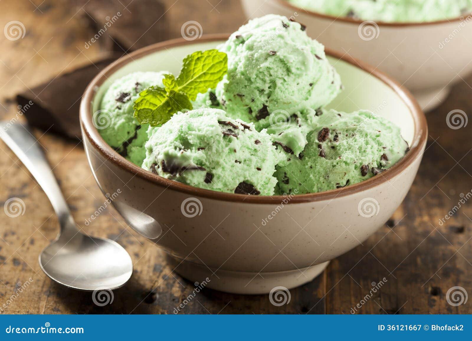 Organicznie zieleni mennicy Czekoladowego układu scalonego lody