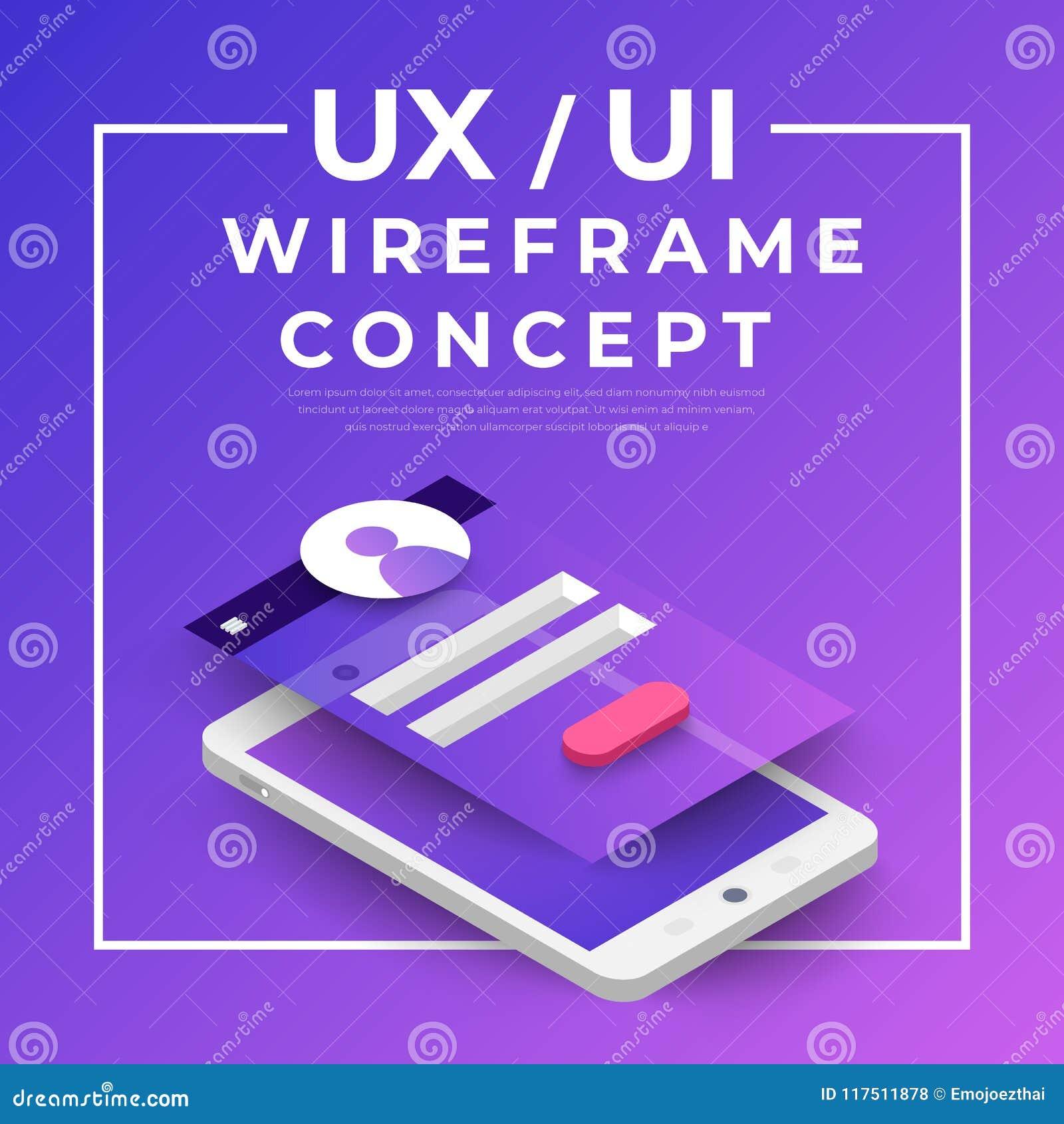 Organigrama de UX UI Concepto de la aplicación móvil de las maquetas isométrico