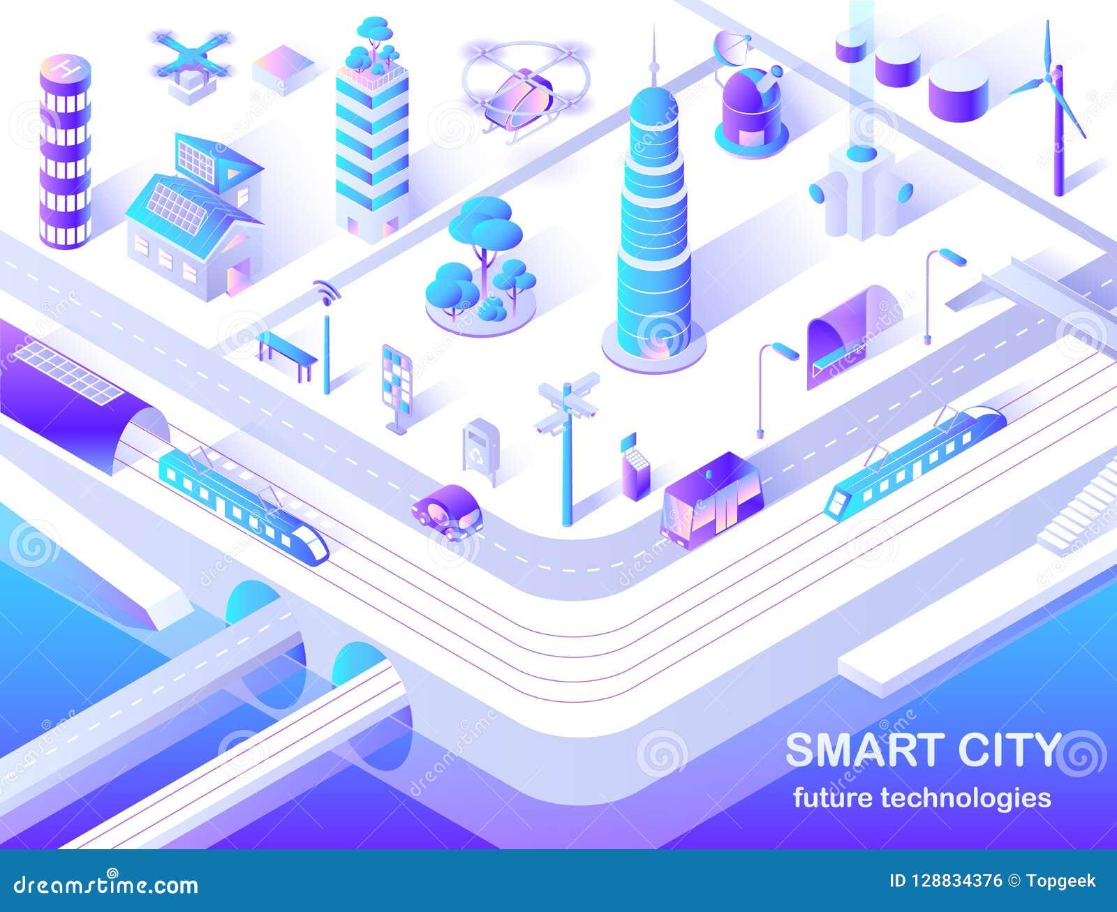 Organigrama isométrico de la tecnología futura elegante de la ciudad