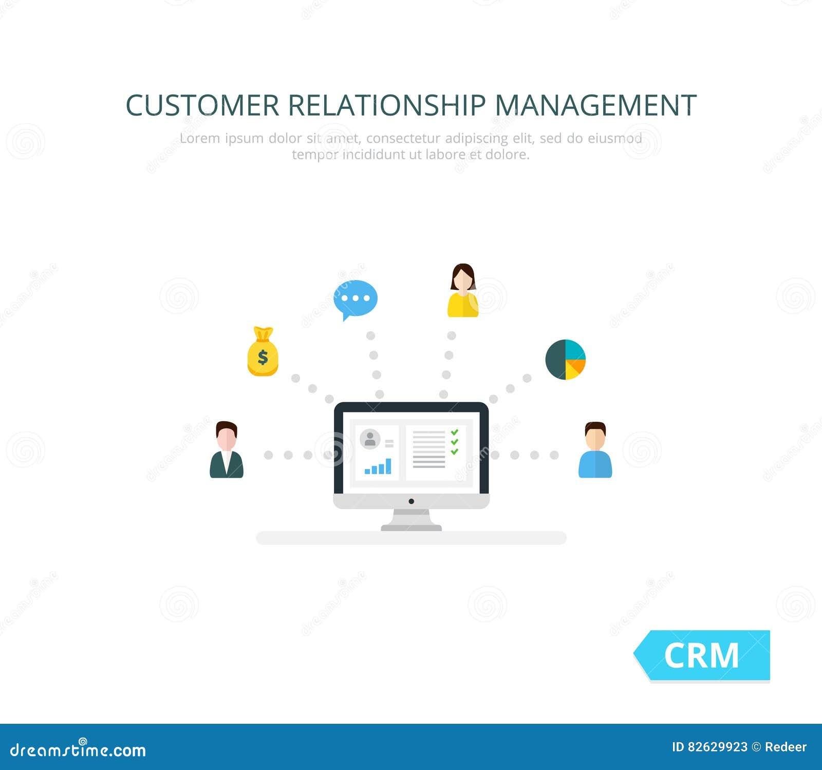 Organisatie van gegevens over het werk met cliënten, CRM-concept De illustratie van het klantrelatiebeheer