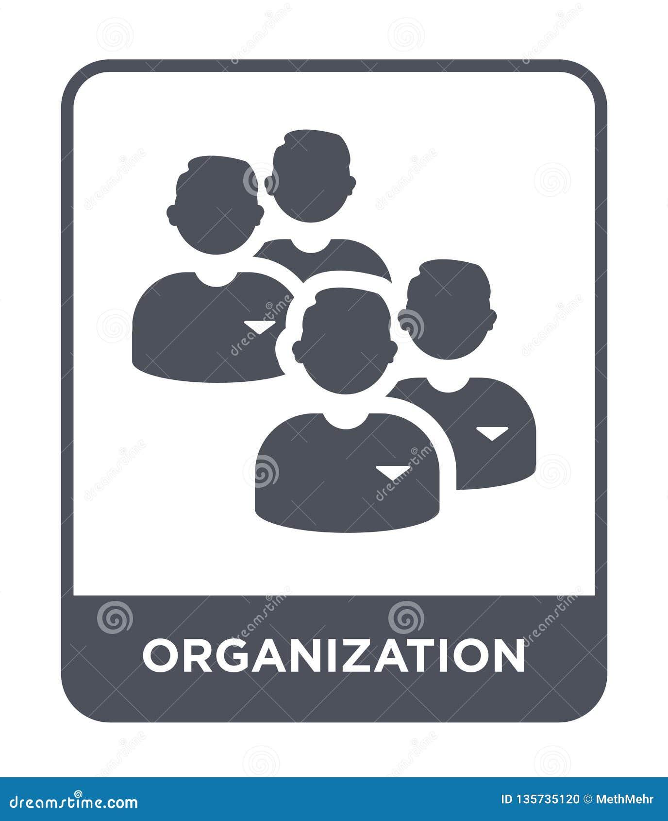 Organisatiepictogram in in ontwerpstijl Organisatiepictogram op witte achtergrond wordt geïsoleerd die eenvoudig organisatie vect