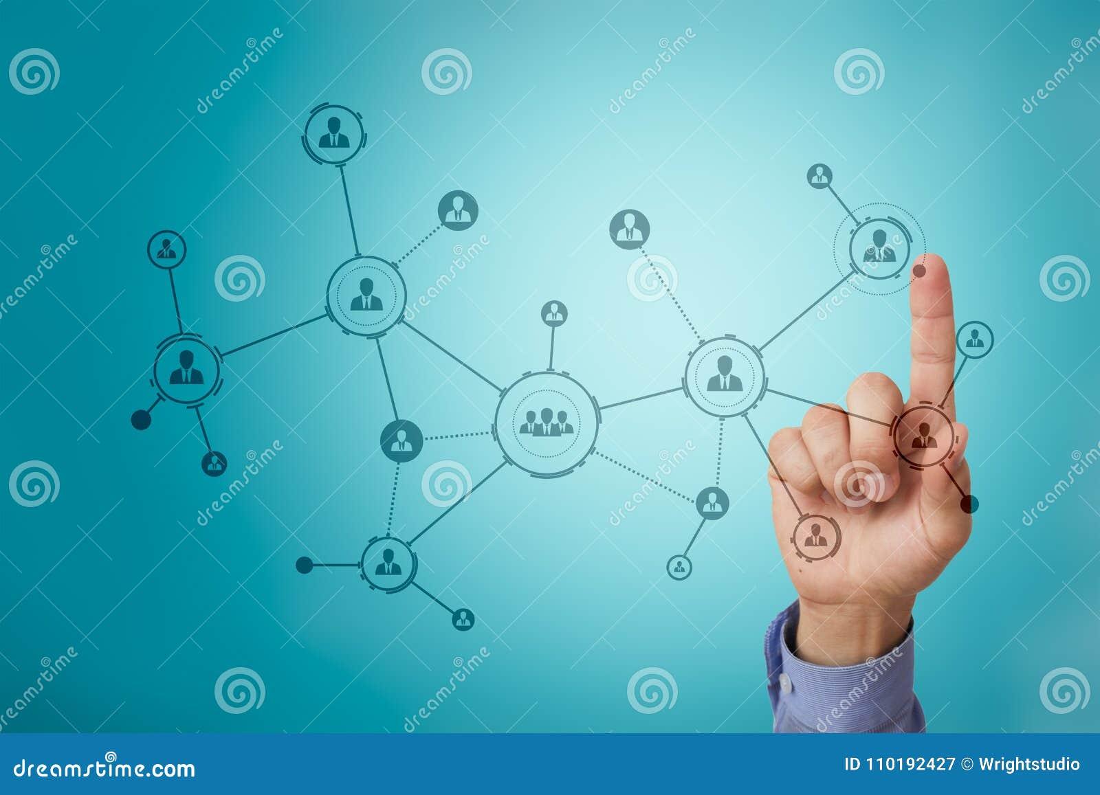 Organisatiestructuur Mensen` s sociaal netwerk Bedrijfs en technologieconcept