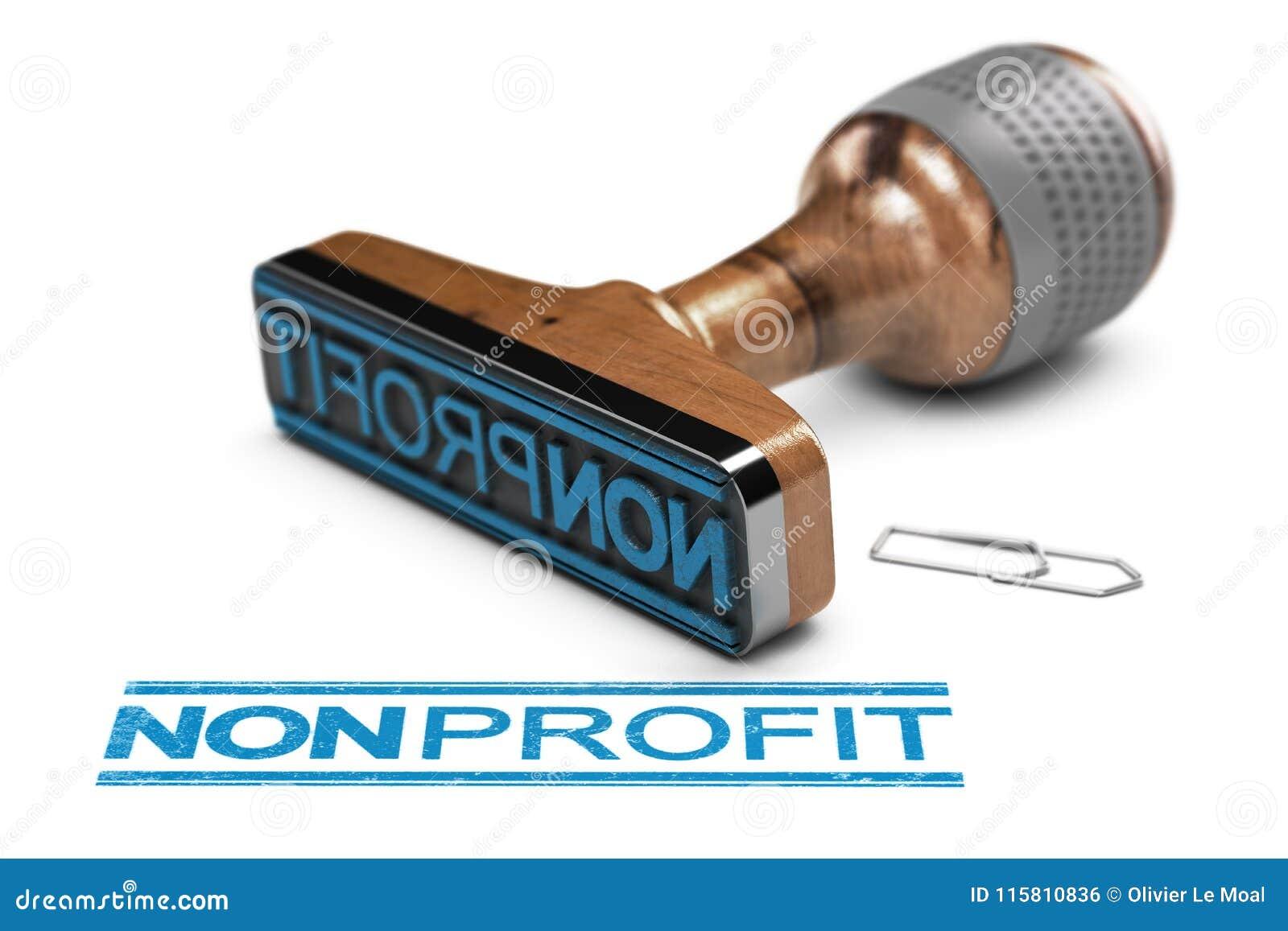 Organisation à but non lucratif ou association, tampon en caoutchouc au-dessus de B blanc